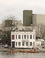 Chiswick, London. ENGLAND,11.03.2006, River Thames rescue crews, tie up outside, The Ship Inn, [Under Restoration] before the start of the 2006 Women's Head of the River Race Mortlake to Putney  on Saturday 11th March    © Peter Spurrier/Intersport-images.com.. 2006 Women's Head of the River Race. Rowing Course: River Thames, Championship course, Putney to Mortlake 4.25 Miles