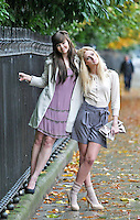 03/11/'10***NO REPRODUCTION FEE PICTURES*** Models, Amber Rowan (blonde Hair) and Hannah May pictured wearing party dresses from AWear's new Christmas Collection this morning. The Irish brand celebrates 25 years in business this year, and will be hosting a massive birthday party next Wednesday 10th November where Irish MTV presenter Laura Whitmore will be  Amber wears Grey Shorts @ EUR 30 and an Embilished Cream Cardigan @ EUR35 and Hannah wears a Beige Fur Collar Jacket @EUR50 and a pink Embillished Dress at EUR50. ....Picture Colin Keegan, Collins, Dublin.