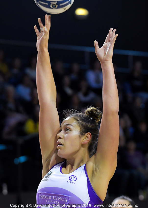 Maia Wilson shoots for goal during the ANZ Premiership netball match between the Central Pulse and Northern Stars at the TSB Bank Arena in Wellington, New Zealand on Monday, 13 May 2019. Photo: Dave Lintott / lintottphoto.co.nz