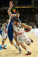 Real Madrid´s Facundo Campazzo and Anadolu Efes´s Deniz Kilicli during 2014-15 Euroleague Basketball match between Real Madrid and Anadolu Efes at Palacio de los Deportes stadium in Madrid, Spain. December 18, 2014. (ALTERPHOTOS/Luis Fernandez) /NortePhoto /NortePhoto.com