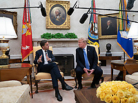 Mark Rutte, Prime Minster of The Netherlands speaks during a meeting with United States President Donald J. Trump at The White House in Washington, DC, July 2, 2018. <br /> CAP/MPI/RS<br /> &copy;RS/MPI/Capital Pictures