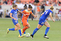 Houston, TX - Sunday Sept. 11, 2016: Louise Schillgard, Carli Lloyd, Rachel Wood during a regular season National Women's Soccer League (NWSL) match between the Houston Dash and the Boston Breakers at BBVA Compass Stadium.