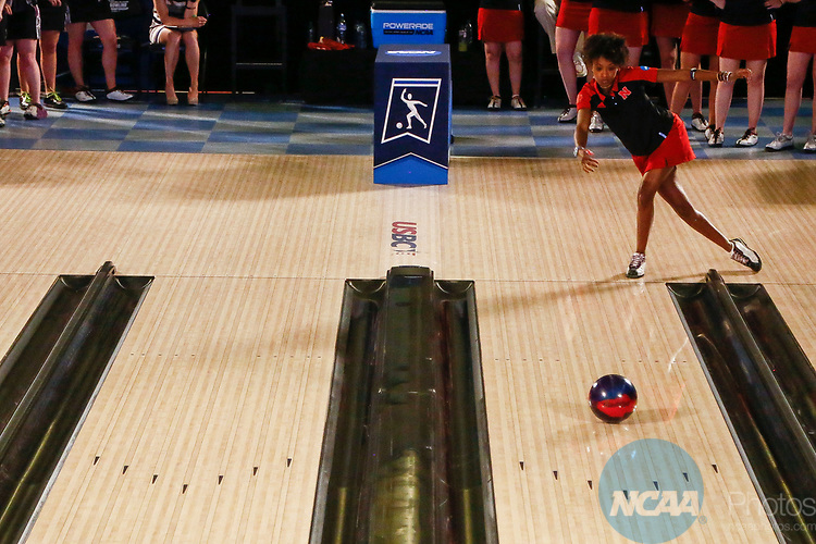 BATON ROUGE, LA - APRIL 15: Gazmine Mason #10 of the Nebraska Cornhuskers bowls during the Division I Women's Bowling Championship held at the Baton Rouge River Center on April 15, 2017 in Baton Rouge, Louisiana. (Photo by Tim Nwachukwu/NCAA Photos via Getty Images)