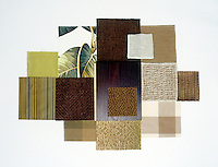 A collection of fabric swatches illustrating the colour range from green tea to tobacco
