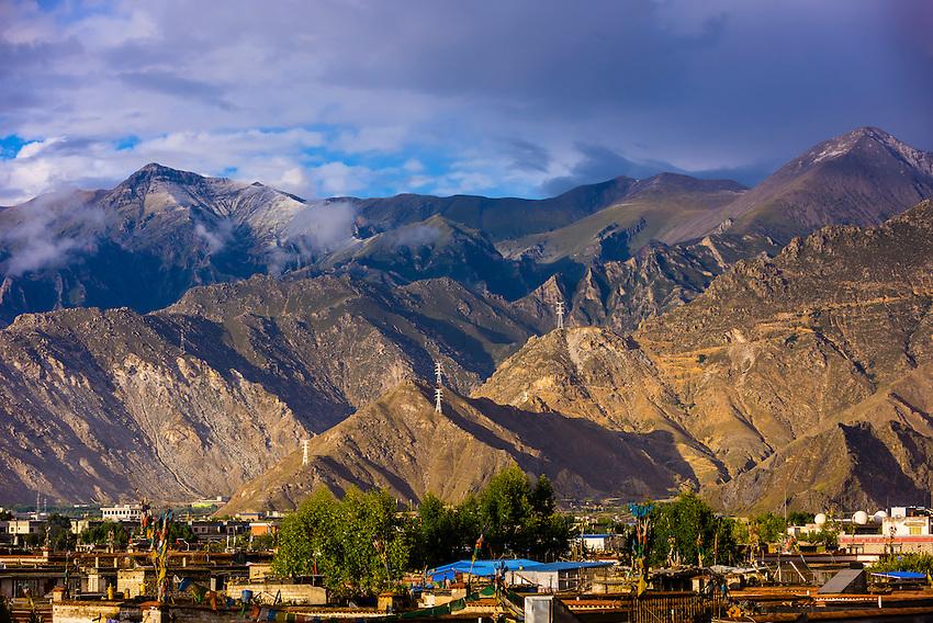 Mountains surrounding Lhasa, Tibet (Xizang), China.
