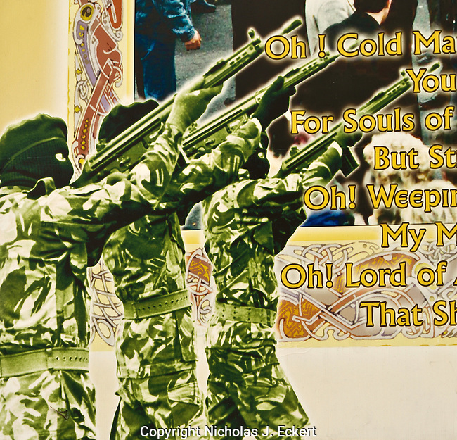 "This is part of a mural honoring the ""Gibraltar 3,"" members of the IRA killed by British commandos there in 1988.  The IRA frequently staged ""military"" style funerals in which masked gunmen would appear and fire shots over the graves. ..The Security Forces almost always tried to apprehend or otherwise disrupt such actions by the IRA, leading to ugly and sometimes violent scenes at such funerals...What is somewhat ironic is that in the case of the Gibraltar 3, the IRA volunteers did not get a firing party, because the Provos and the Security Forces negotiated a deal that there would be a minimal security presence at the funerals (held jointly at Milltown Cemetery) if the IRA refrained from staging a military funeral.  Unfortunately, a somewhat deranged Loyalist gunman took advantage of this deal in an attempt to murder the Republican leaders gathered by the graveside.  He failed in this but killed three mourners (including one IRA man)."