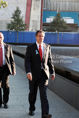 On the 10th anniversary of the September 11th attacks,  Governor Andrew Cuomo (Democrat of New York) at the North Pool at the September 11th Memorial at the World Trade Center site in New York, New York on September 11, 2011. .Credit: Jefferson Siegel / Pool via CNP