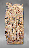 The Christian Eastern Roman Byzantine memorial funerary mosaic for Crescentia. <br /> Above the funerary portrait of Crescentia are the words: 'Crescentia, innocent and in Peace'. Crescentia is dressed in a dalmatic, a long wide-sleeved tunic, with a belt around the waiste and a neclace around her neck. Lit candles represent eternal life. 5th century AD from the western necropolis of Thabraca, Tabarka, Tunisia, Bardo Museum, Tunis, Tunisia. Grey background
