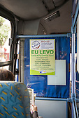 A bi-lingual sign in a bus explains that the bus goes to the Rio+20 Summit Rio Centre venue. United Nations Conference on Sustainable Development (Rio+20), Rio de Janeiro, Brazil. Photo © Sue Cunningham.