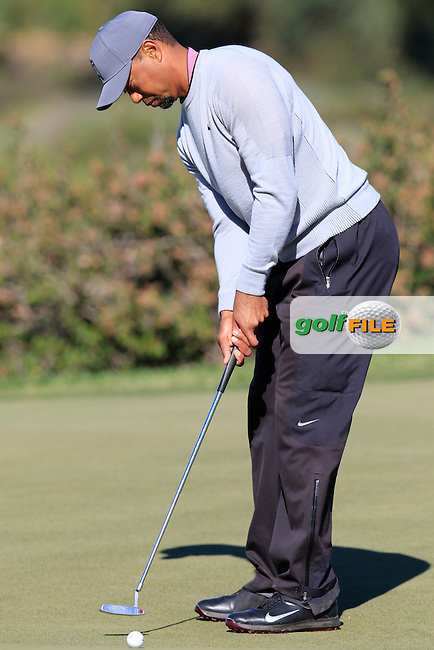 Tiger Woods (USA) putts on the 12th green during Friday's Round 2 of the 2017 Farmers Insurance Open held at Torrey Pines Golf Course, La Jolla, San Diego, California, USA.<br /> 27th January 2017.<br /> Picture: Eoin Clarke | Golffile<br /> <br /> <br /> All photos usage must carry mandatory copyright credit (&copy; Golffile | Eoin Clarke)