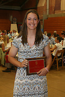 "STANFORD, CA - June 12:  Missy Penna accepts her Block ""S"" Outstanding Female Junior award during the 2008 Athletic Board Award Luncheon at the Ford Center in Stanford, California."
