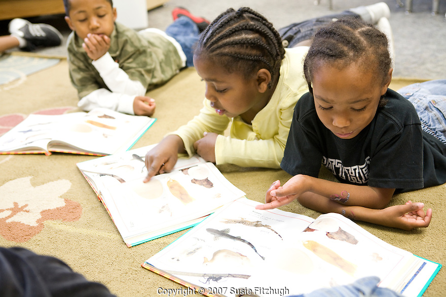Madrona K-8 School in Seattle, WA: First-graders have time to read to themselves and each other every day.