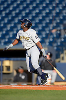 Trenton Thunder shortstop Jose Pirela #28 during a game against the Akron Aeros on April 22, 2013 at Canal Park in Akron, Ohio.  Trenton defeated Akron 13-8.  (Mike Janes/Four Seam Images)