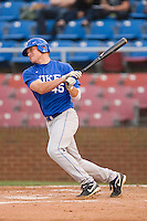 Will Currier #45 of the Duke Blue Devils follows through on his swing against the Wake Forest Demon Deacons at the Wake Forest Baseball Park April 23, 2010, in Winston-Salem, NC.  Photo by Brian Westerholt / Sports On Film