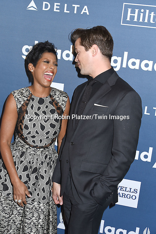 Tamron Hall  and Andrew Rannells attends the 27th Annual GLAAD Media Awards on May 14, 2016 at the Waldorf Astoria Hotel in New York City, New York, USA.<br /> <br /> photo by Robin Platzer/Twin Images<br />  <br /> phone number 212-935-0770