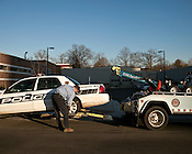 December. Durham, North Carolina.. A police is towed from Risbee Street in Durham.