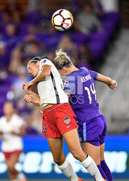 Orlando, FL - Saturday July 07, 2018: Ashley Hatch, Alanna Kennedy during the second half of a regular season National Women's Soccer League (NWSL) match between the Orlando Pride and the Washington Spirit at Orlando City Stadium. Orlando defeated Washington 2-1.