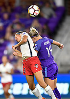 Orlando, FL - Saturday July 07, 2018: Ashley Hatch, Alanna Kennedy during the second half of a regular season National Women's Soccer League (NWSL) match between the Orlando Pride and the Washington Spirit at Orlando City Stadium. Orlando defeated Washington 2-1.