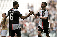 Miralem Pjanic of Juventus celebrates with Sami Khedira after scoring the goal of 1-0 for his side <br /> Torino 28/09/2019 Allianz Stadium <br /> Football Serie A 2019/2020 <br /> Juventus FC - SPAL <br /> Photo OnePlusNine / Insidefoto