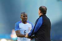San Diego, CA - Sunday January 29, 2017: Darlington Nagbe, Bruce Arena during an international friendly between the men's national teams of the United States (USA) and Serbia (SRB) at Qualcomm Stadium.