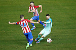 Atletico de Madrid's Gabi Fernandez (l) and Filipe Luis (c) and FC Barcelona's Leo Messi during Spanish Kings Cup semifinal 1st leg match. February 01,2017. (ALTERPHOTOS/Acero)