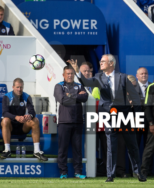 Leicester City Manager Claudio Ranieri throws the ball during the Premier League match between Leicester City and Southampton at the King Power Stadium, Leicester, England on 2 October 2016. Photo by Andy Rowland.