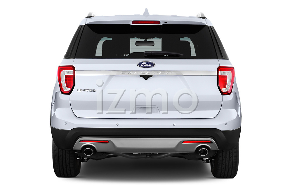 Straight rear view of 2017 Ford Explorer Limited 5 Door SUV Rear View  stock images