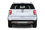 Straight rear view of 2016 Ford Explorer Limited 5 Door SUV Rear View  stock images
