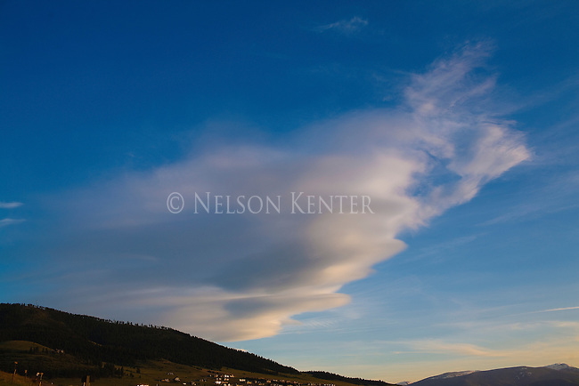 Cirrus clouds at sunset over Mount Sentinel in Missoula, Montana
