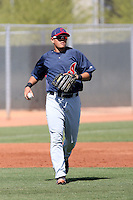 Giovanny Urshela #23 of the Cleveland Indians plays in a minor league spring training game against the Cincinnati Reds on March 27, 2011  in Goodyear, Arizona. .Photo by:  Bill Mitchell/Four Seam Images.
