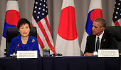 United States President Barack Obama attends a trilateral meeting with President Park Geun-Hye of the Republic of Korea at the Nuclear Security Summit in Washington, DC on March 31,2016.<br /> Credit: Dennis Brack / Pool via CNP