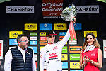 Bjorg Lambrecht (BEL) Lotto-Soudal wins the young riders White Jersey classification at the end of  Stage 8 of the Criterium du Dauphine 2019, running 113.5km from Cluses to Champery, Switzerland. 16th June 2019.<br /> Picture: ASO/Alex Broadway | Cyclefile<br /> All photos usage must carry mandatory copyright credit (© Cyclefile | ASO/Alex Broadway)
