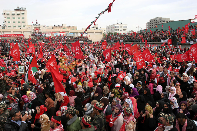 Palestinians take part in a rally organised by the Popular Front for the Liberation of Palestine (PFLP) to celebrate the 42nd anniversary of its establishment in Gaza City on December 12, 2009. Photo by Mohammed Asad