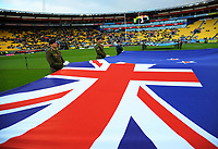 The NZ flag is displayed on the pitch before the 2017 Rugby League World Cup quarterfinal match between New Zealand Kiwis and Fiji at Wellington Regional Stadium in Wellington, New Zealand on Saturday, 18 November 2017. Photo: Dave Lintott / lintottphoto.co.nz