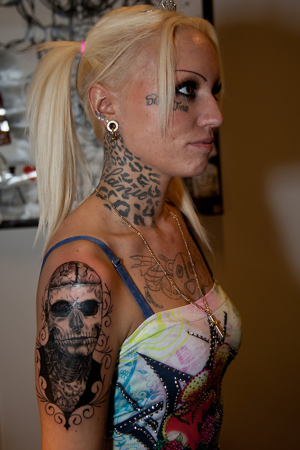 Copenhagen Inkfestival 2012. Young woman with black and grey portrait of Rick Genest, the Zombie Boy.