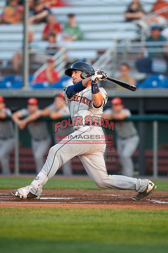 Connecticut Tigers catcher Joey Morgan (9) at bat during a game against the Auburn Doubledays on August 10, 2017 at Falcon Park in Auburn, New York.  Connecticut defeated Auburn 4-1.  (Mike Janes/Four Seam Images)