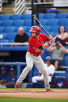Palm Beach Cardinals second baseman Brett Wiley (26) at bat during the first game of a doubleheader against the Dunedin Blue Jays on July 31, 2015 at Florida Auto Exchange Stadium in Dunedin, Florida.  Dunedin defeated Palm Beach 7-0.  (Mike Janes/Four Seam Images)