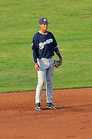 Angel Ortega (10) of the Helena Brewers on defense against the Ogden Raptors at Lindquist Field on July 23, 2013 in Ogden Utah. (Stephen Smith/Four Seam Images)