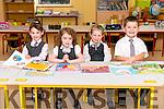 Pupils from Scoil an Ghleanna Ava Ní Chonchúir, Ellen Terry, Sinéad Ní Mhuircheartaigh and Dara Furlong enjoyint their first day at school.