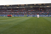 One minute of silence before the Spanish football of La Liga 123, match between CA Osasuna and  RCD Mallorca at the Sadar stadium, in Pamplona (Navarra), Spain, on Sunday, January 20, 2019.
