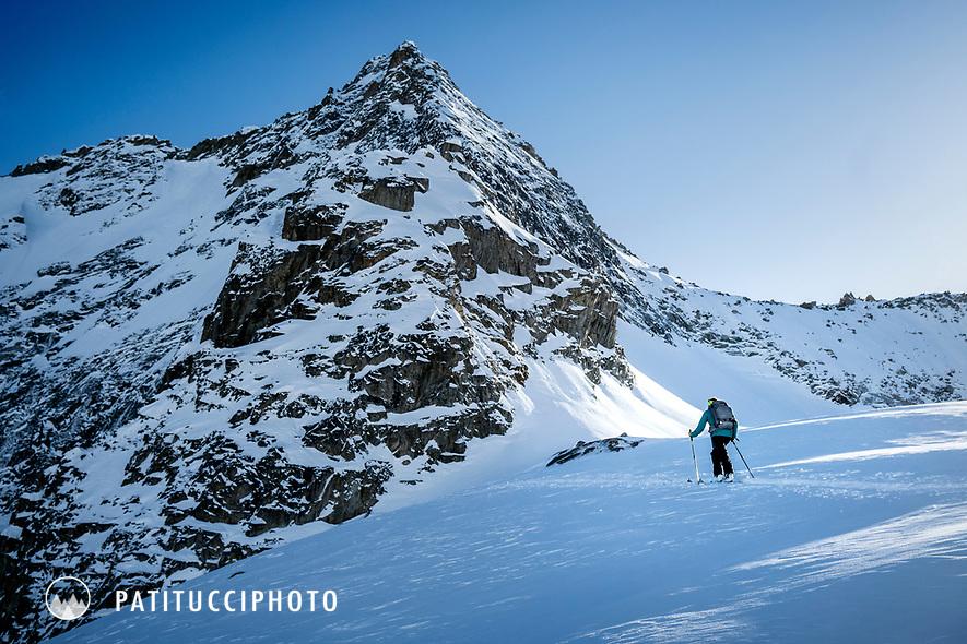 Ski touring above Guttanen, near the Grimsel Pass, Switzerland