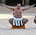 "Hakuho, Tokyo, Japan, January 6, 2012 :Mongolian grand sumo champion Yokozuna Hakuho performs during  the ""ring entering ceremony"" for dedication at Meiji Shrine, Tokyo, Japan, on January 6, 2012. (Photo by AFLO)"