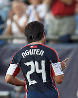 New England Revolution midfielder Lee Nguyen (24) gestures to crowd after scoring a goal. In a Major League Soccer (MLS) match, New England Revolution defeated New York Red Bulls, 2-0, at Gillette Stadium on July 8, 2012.