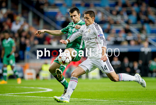 Real Madrid's Mexican forward Chicharito Hernandez during the Champions league football match Real Madrid vs Ludogorets at the Santiago Bernabeu stadium in Madrid on december 9, 2014. Samuel de Roman / Photocall3000.