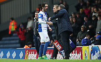 Blackburn Rovers' Danny Graham shakes hands with Blackburn Rovers manager Tony Mowbray as he comes off in the second half<br /> <br /> Photographer Rachel Holborn/CameraSport<br /> <br /> The EFL Sky Bet League One - Blackburn Rovers v Shrewsbury Town - Saturday 13th January 2018 - Ewood Park - Blackburn<br /> <br /> World Copyright &copy; 2018 CameraSport. All rights reserved. 43 Linden Ave. Countesthorpe. Leicester. England. LE8 5PG - Tel: +44 (0) 116 277 4147 - admin@camerasport.com - www.camerasport.com