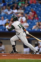 Fort Wayne TinCaps first baseman Fernando Perez (13) at bat during a game against the Lake County Captains on August 21, 2014 at Classic Park in Eastlake, Ohio.  Lake County defeated Fort Wayne 7-8.  (Mike Janes/Four Seam Images)
