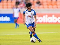 HOUSTON, TX - FEBRUARY 3: Kethna Louis #20 of Haiti dribbles during a game between Panama and Haiti at BBVA Stadium on February 3, 2020 in Houston, Texas.