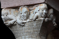 Carved capital depicting monks as builders, from the old cloister, built under abbot Begon III in 1097-1107, in the Abbatiale Sainte-Foy de Conques or Abbey-church of Saint-Foy, Conques, Aveyron, Midi-Pyrenees, France, a Romanesque abbey church begun 1050 under abbot Odolric to house the remains of St Foy, a 4th century female martyr. The church is on the pilgrimage route to Santiago da Compostela, and is listed as a historic monument and a UNESCO World Heritage Site. Picture by Manuel Cohen