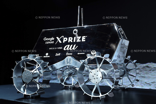 August 29, 2016, Tokyo, Japan - The final version model of the moon probe rover, produced by Japanese challenge team Hakuto for Google Lunar XPRIZE is displayed at a press conference in Tokyo on Monday, August 29, 2016. The Google Lunar XPRIZE is a space competition sponsored by Google. The private funded teams compete to land a rover on the moon and transmit high-definition images to the earth.    (Photo by Yoshio Tsunoda/AFLO) LWX -ytd-