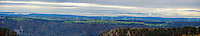 Panoramic landscape of Mont Soleil wind farm in the Jura mountains, Switzerland<br /> <br /> Stitched photo:  total 14 000 pixel width <br /> <br /> <br /> Prints available upon request.<br /> <br /> <br /> .